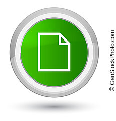Blank page icon prime green round button