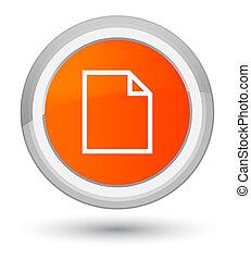 Blank page icon prime orange round button