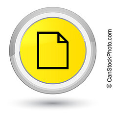 Blank page icon prime yellow round button