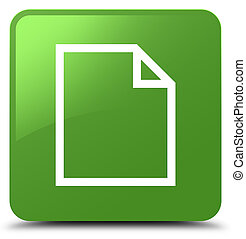 Blank page icon soft green square button