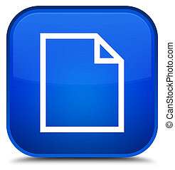 Blank page icon special blue square button