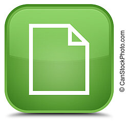 Blank page icon special soft green square button