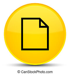 Blank page icon special yellow round button