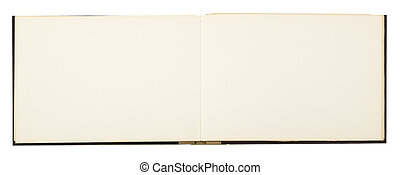 blank page of note book, isolated on white