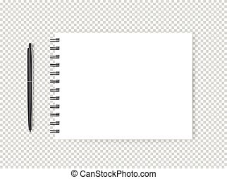 Blank page with a pen illustration. Vector object isolated on transparent background