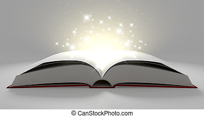 Blank Paged Magical Book - A regular hard cover book open in...