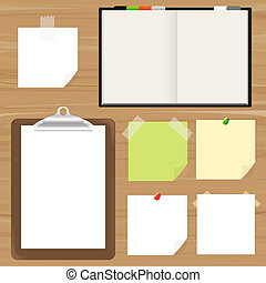 Blank Pages, Clipboard And Reminder Note, Vector Illustration