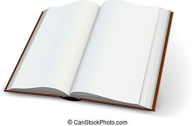 Blank pages of open books spread isolated on white...