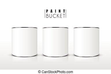 blank paint buckets set