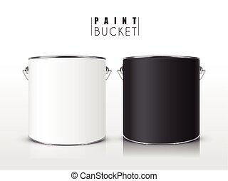blank paint buckets