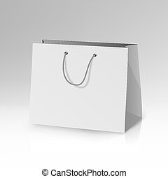 Blank Paper Bag Template Vector. 3D Realistic Shopping Or Gift Bag Mock Up With Handles Isolated