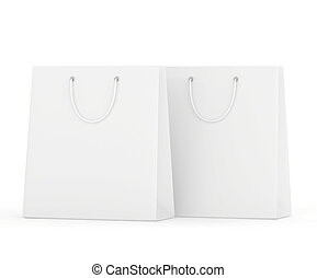 blank paper bags set isolated on white background. 3d rendering.