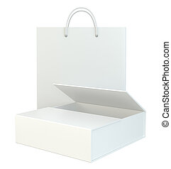 blank paper bags set on white background. 3d rendering.