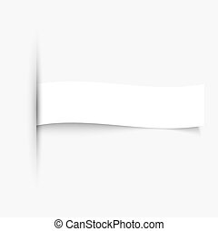 Blank paper banner with shadows on white background