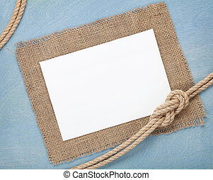 Blank paper card with ship rope