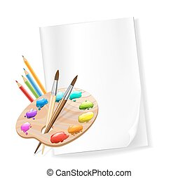 blank paper, color pencils, palette, brushes. vector