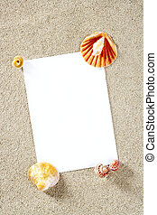blank paper copy space summer beach sand vacation