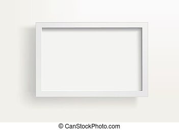 Blank paper frames on white wall. Vector