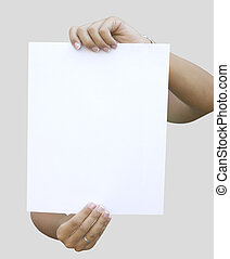 blank paper held by two woman hands