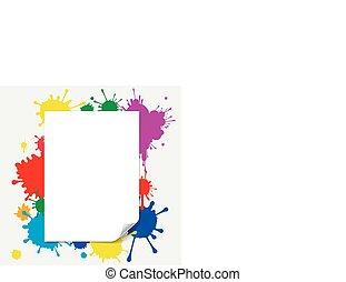 blank paper illustration on colored splashes background