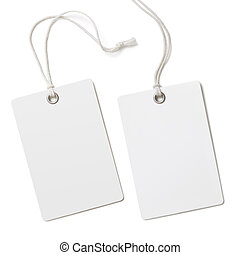 Blank paper label or cloth tag set isolated  on white