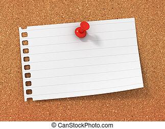 blank paper note on bulletin board