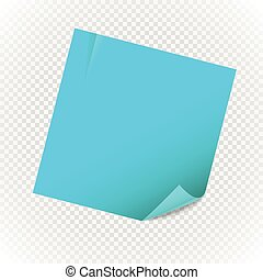 Blank paper note sheet isolated on transparent background. Template for a text