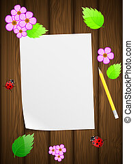 Blank paper on wooden background with flowers and ladybird. ...