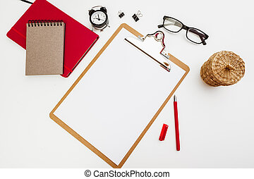 Blank paper on wooden clipboard isolated on white background