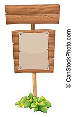 Blank paper on wooden sign
