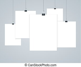 Blank Paper Photo Frames or Poster Templates. Vector
