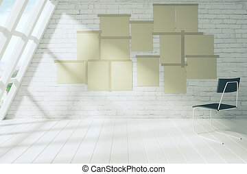 Blank paper posters on the brick wall of empty room with chair, mock up
