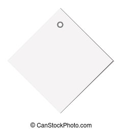 Blank paper price tag or label isolated on white background, vector illustration
