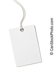 Blank paper price tag or label isolated on white