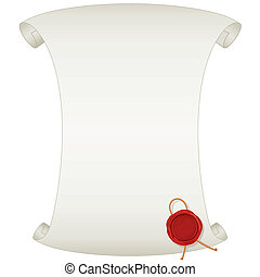 Blank Paper Scroll with Wax Seal. Vector Image