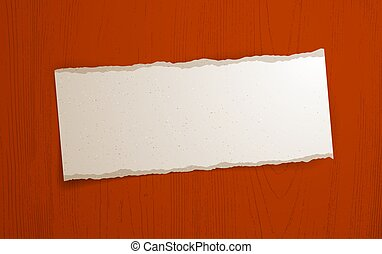 Blank paper sheet memo over wooden background vector realistic illustration, design element for message mockup.