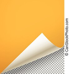 Blank paper sheet with bending corner on transparent background