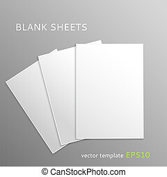 Blank paper sheets - Vector blank paper sheets isolated on...