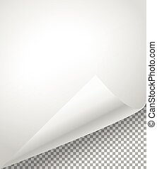 Blank paper sheets with bending corner on transparent background