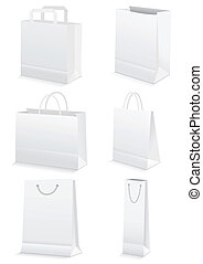 Vector illustration set of six different paper shopping bags. All vector objects and details are isolated and grouped. Bag colors and transparent background are easy to adjust.