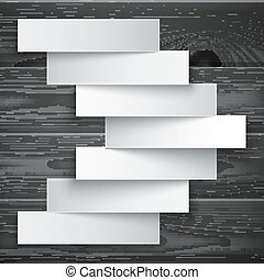 Blank paper stripe banners arrow on dark grey wood texture background