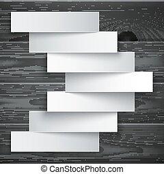 Blank paper stripe banners arrow on dark grey wood texture background