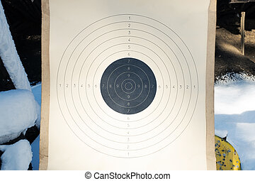 Blank paper target with shooting range numbers. A round, clean target with a marked bull's-eye for shooting practice on the range.