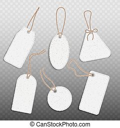 Blank paper vintage price tags set of realistic vector illustration isolated.