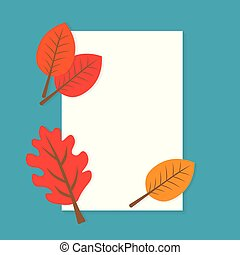 blank paper with autumn leaves- vector illustration