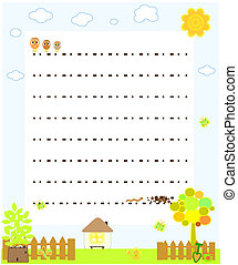 blank paper with chickens vector
