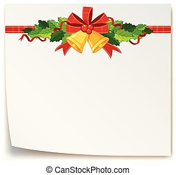 christmas card template with mistletoes and bell illustration