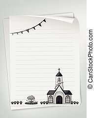 Blank paper with church design