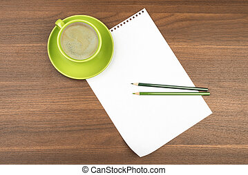 Blank paper with coffee on table
