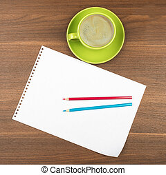 Blank paper with coffee